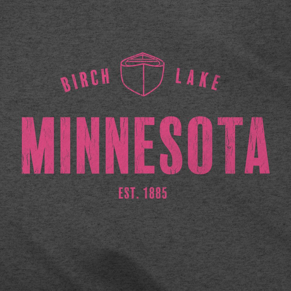 Birch Lake Minnesota Pink Canoe Logo Close Up