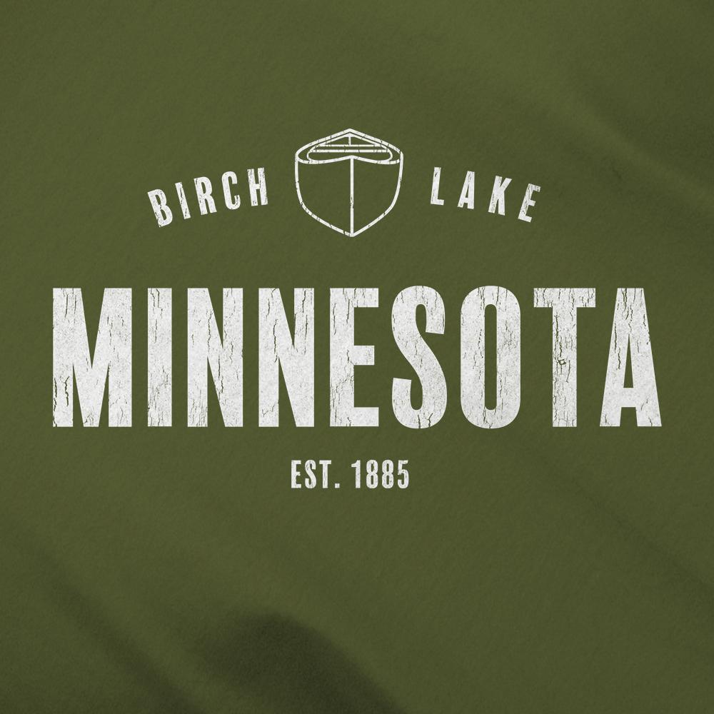 Birch Lake Minnesota White Canoe Logo